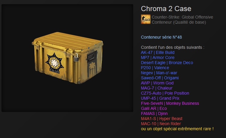 nouvelle caisse chroma 2 cs go fireteam fr. Black Bedroom Furniture Sets. Home Design Ideas